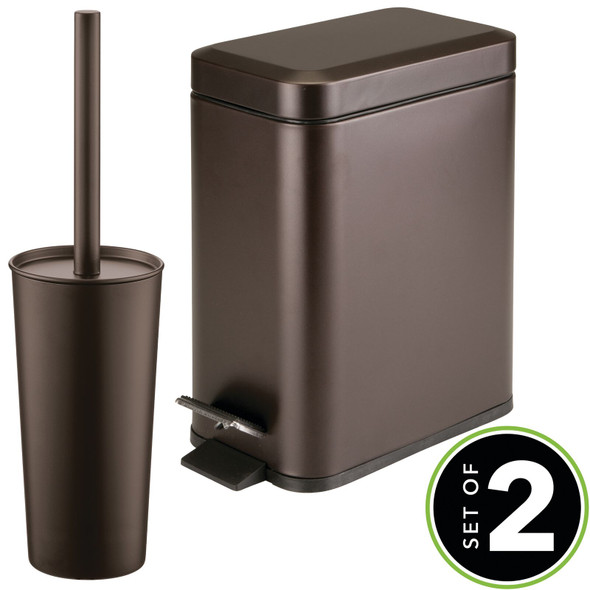 Steel Rectangular Step Can and Bowl Brush in Bronze - Set of 2