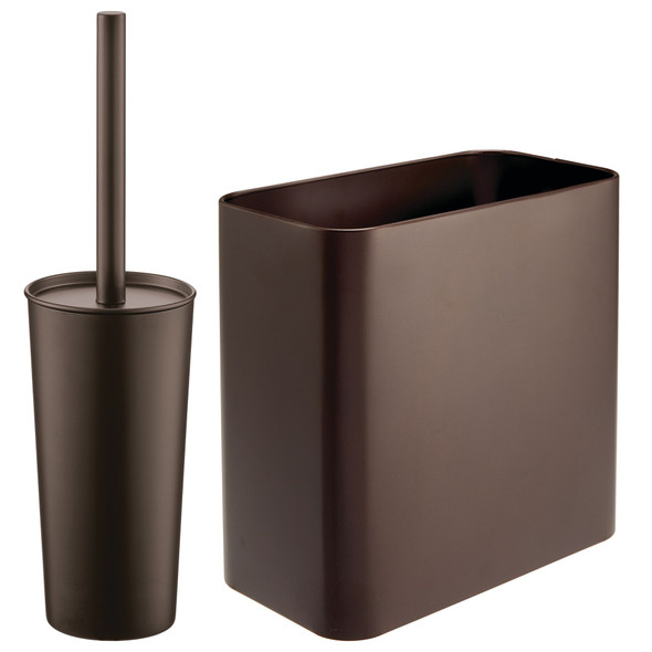 Steel Rectangular Waste Can and Bowl Brush in Bronze - Set of 2