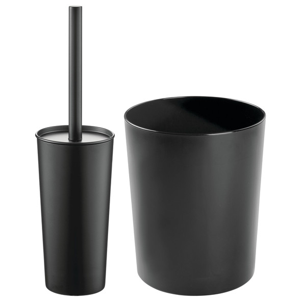 Steel Open Top Waste Bin with Matching Bowl Brush in Black - Set of 2