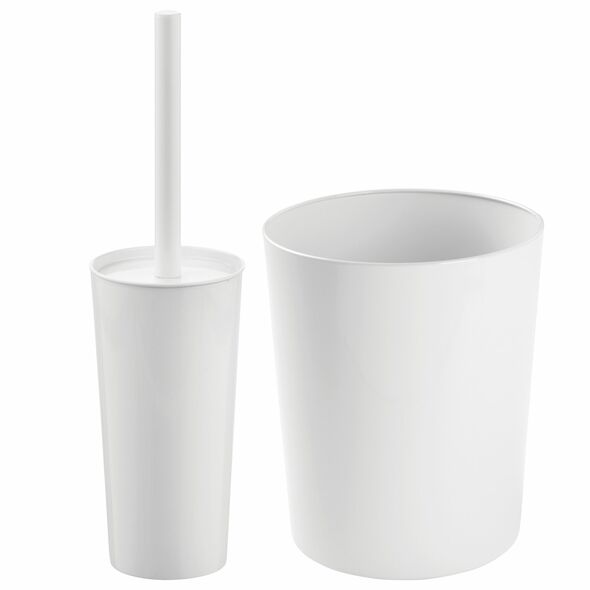 Steel Open Top Waste Bin with Matching Bowl Brush in White - Set of 2