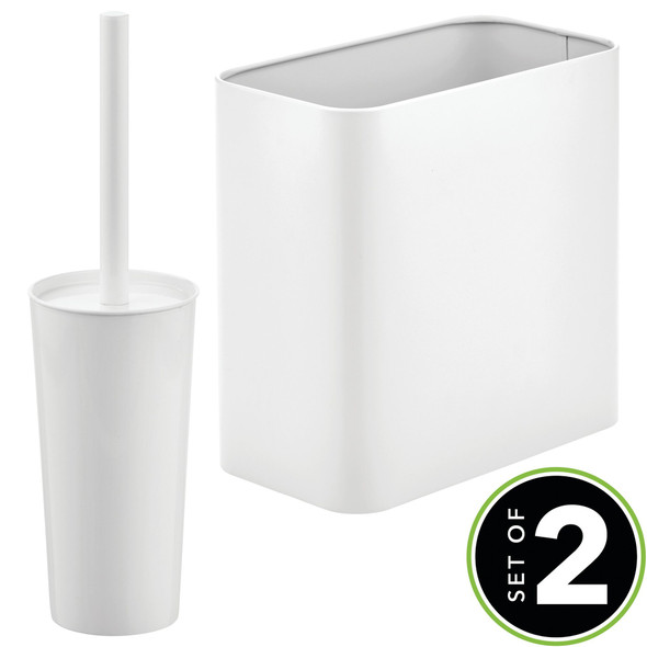 Steel Rectangular Waste Can and Bowl Brush in White - Set of 2