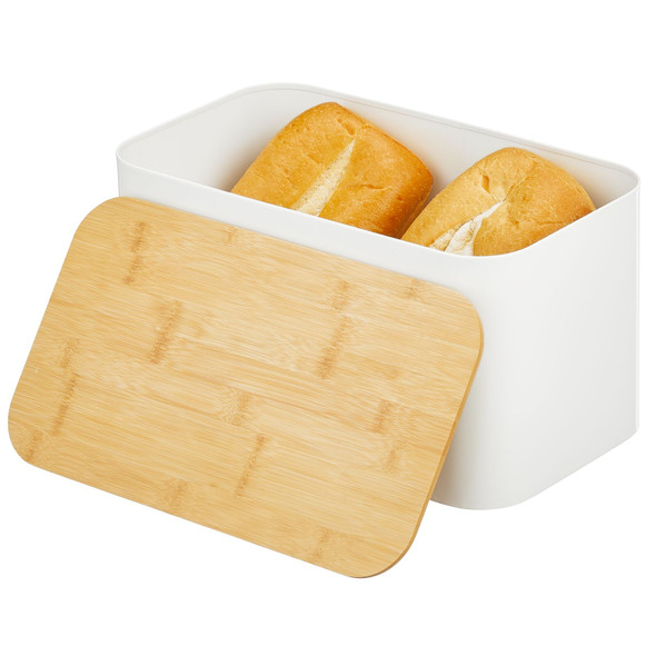 Metal Bread Box with Bamboo Lid