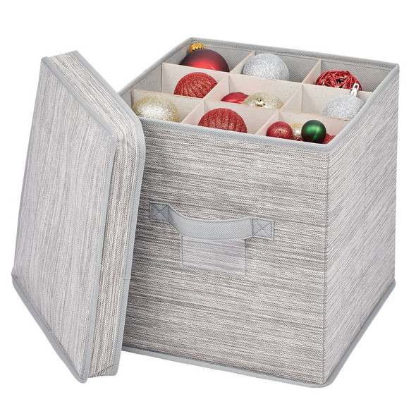 Fabric Ornament Storage Box with Divided Interior Compartments