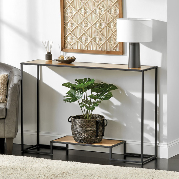 Modern Metal and Wood Inlay Console Table