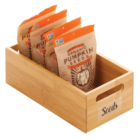 """Bamboo Bin with Labels for Kitchen - 12"""" x 6"""" x 4"""""""