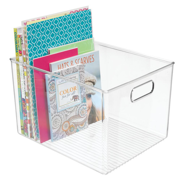 "Tall Plastic Home Office Storage Desk Organizer Bin - 12"" x 10"" x 8"""