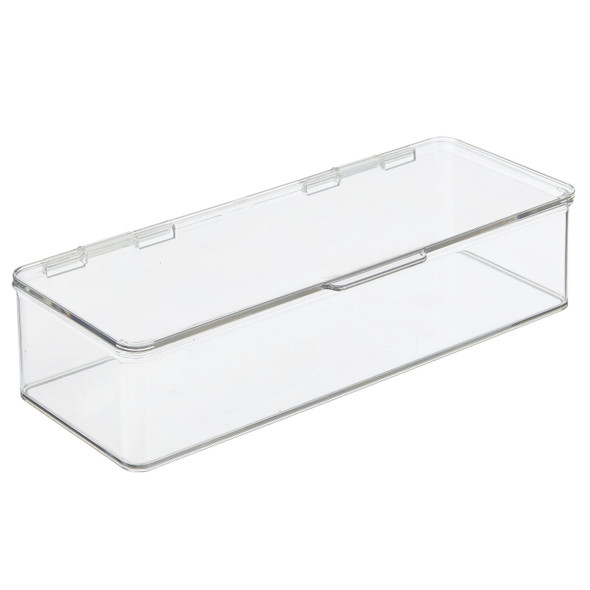Plastic Desk Organizer Bin With Hinged Lid for Home Office