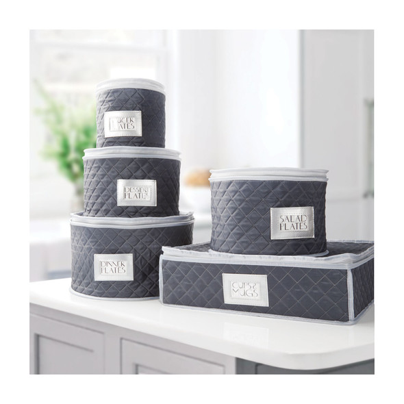 Quilted Fabric Protective Dinnerware Storage Set - Blue