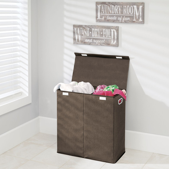 2 Section Collapsible Laundry Hamper Basket Sorter