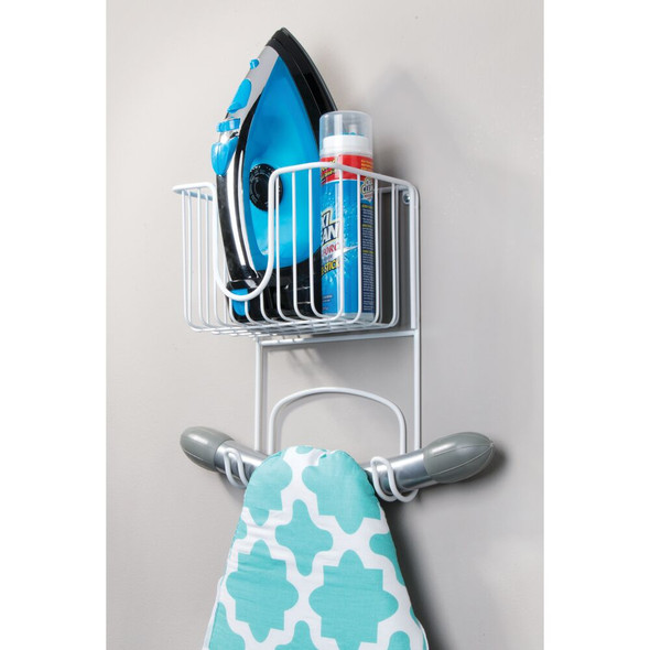 "Wall Mount Iron, Ironing Board Holder Storage Basket - 8"" Wide"