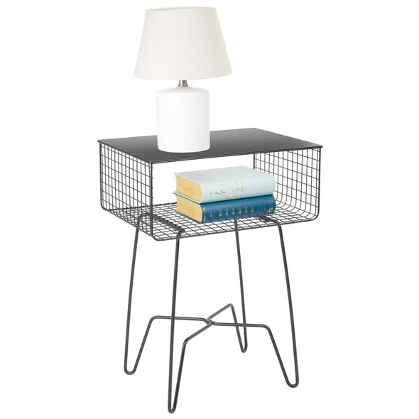 Wire Metal Side Table with Shelf for Storage