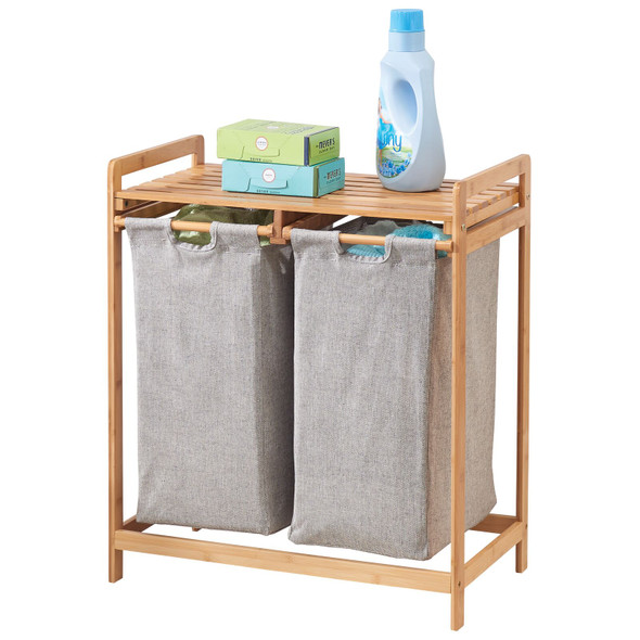 2 Compartment Laundry Hamper Sorter with Bamboo Storage Shelf