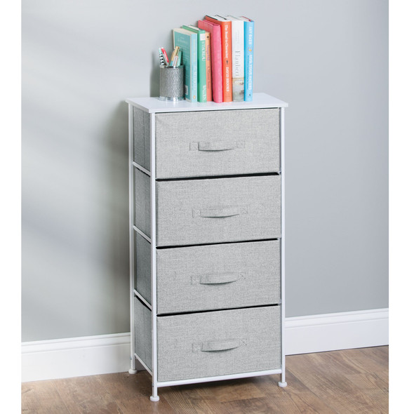 4 Drawer Tall Fabric Dresser for Storage