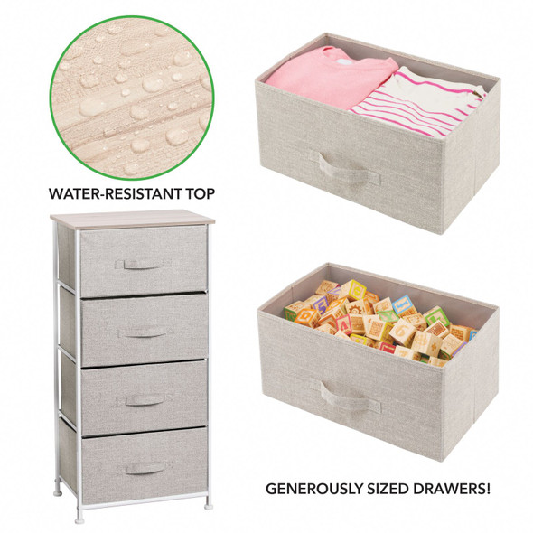 Tall Fabric Storage Table Organizer - Vertical Dresser Cabinet