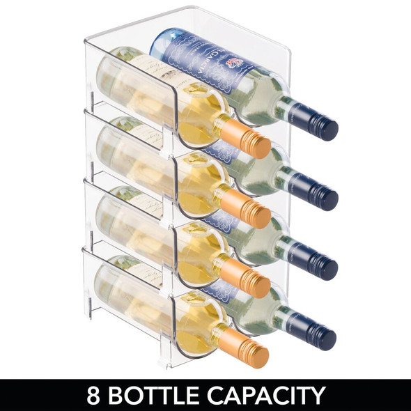 Double Wine Rack Storage Organizer Holder, Plastic - Clear