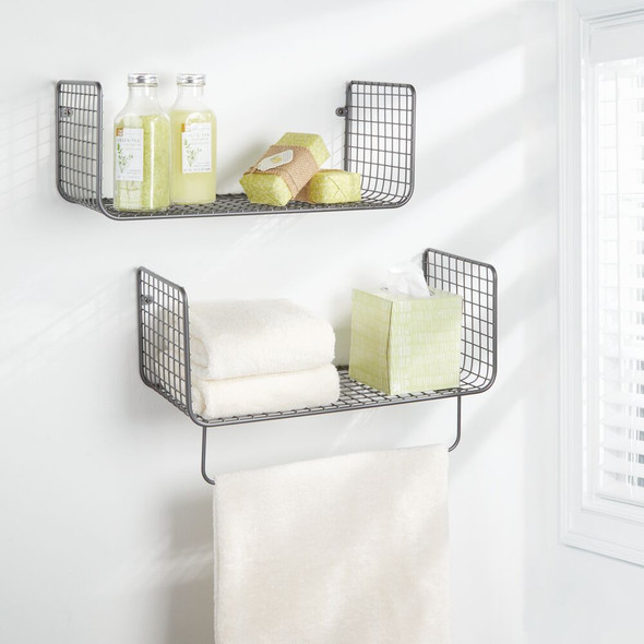 Wire Metal Wall Mount Bathroom Storage Shelf with Towel Bar