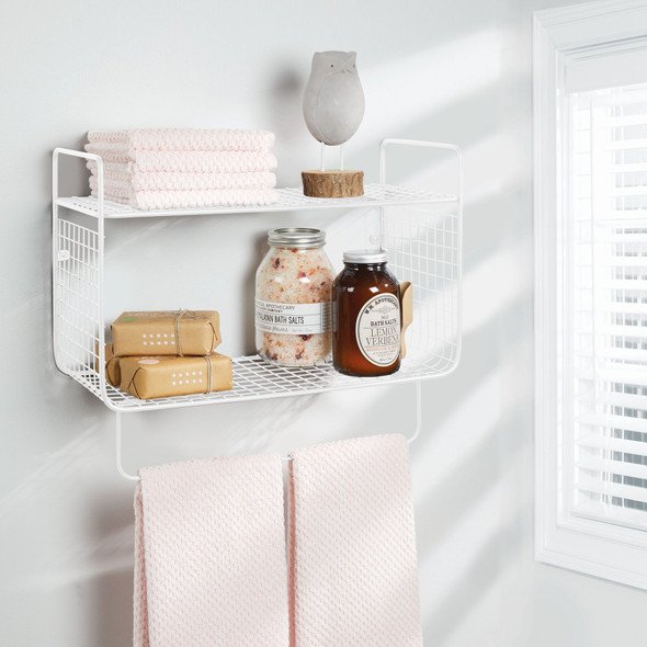 2 Tier Wall Mount Bathroom Shelf with Towel Bar
