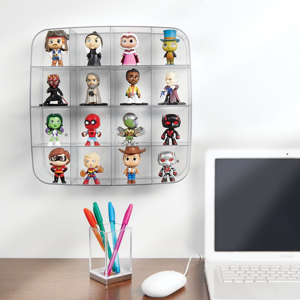 Plastic Wall Mount Collectibles Display Organizer - 16 Sections