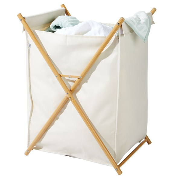Collapsible Bamboo/Fabric Laundry Hamper Basket Bag