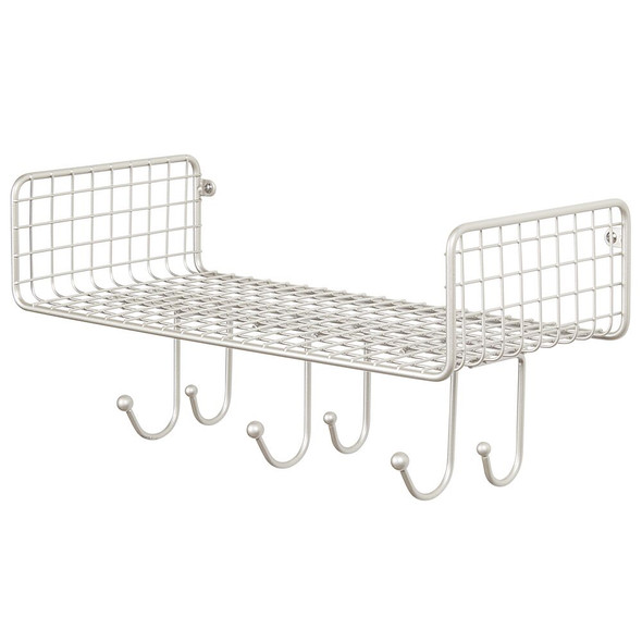 Large Metal Wire Wall Mount Kitchen Storage Shelf with 6 Hooks