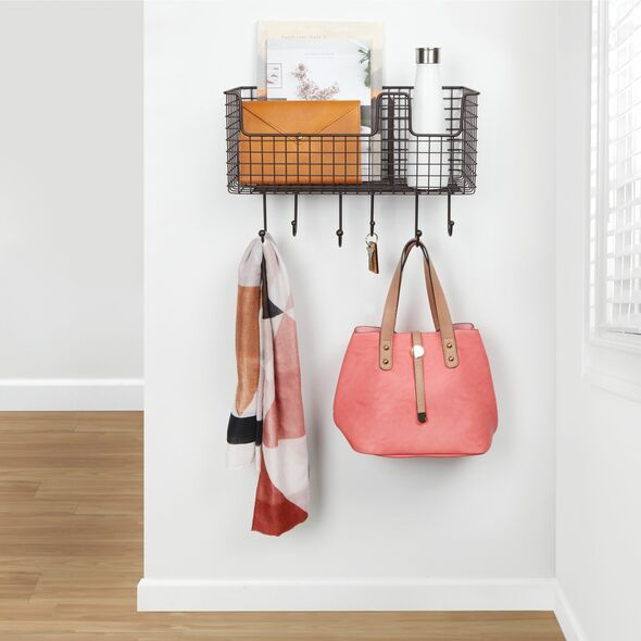6 Hook Farmhouse Metal Wall Mount Storage Basket
