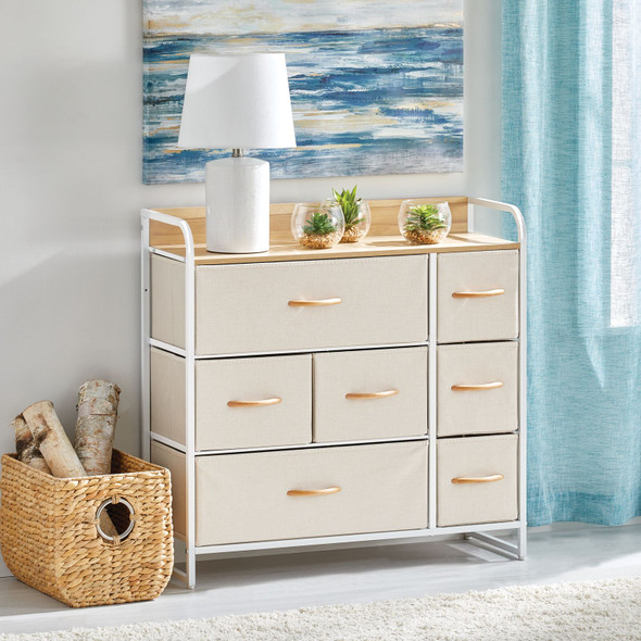 Wide Fabric Storage Table Organizer Unit Dresser Cabinet - 7 Drawers