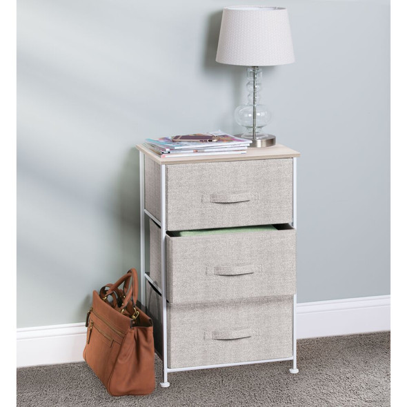 Fabric Storage Table Organizer Unit Dresser Cabinet - 3 Drawers