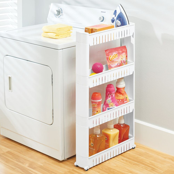 Slim 4 Tier Rolling Laundry Cart Utility Shelf