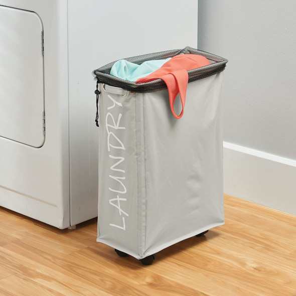 Folding Fabric Drawstring Laundry Hamper with Wheels