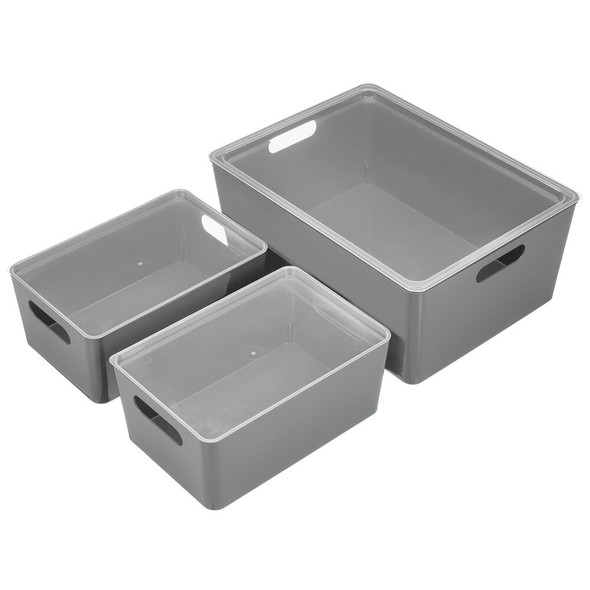 Plastic Home Storage Organizer Boxes - Set of 3