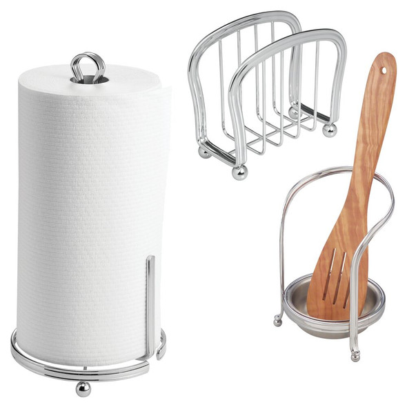 Kitchen Counter Accessory Set, Spoon Rest, Paper Towel Stand, Napkin Holder