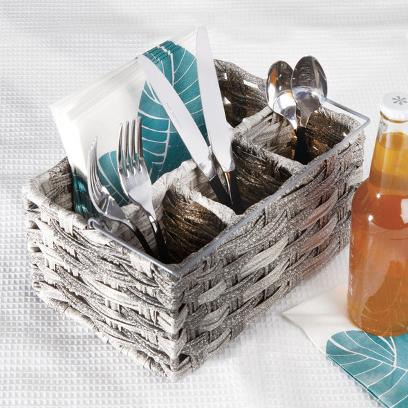 Woven Kitchen Cabinet Cutlery Flatware Bin Basket