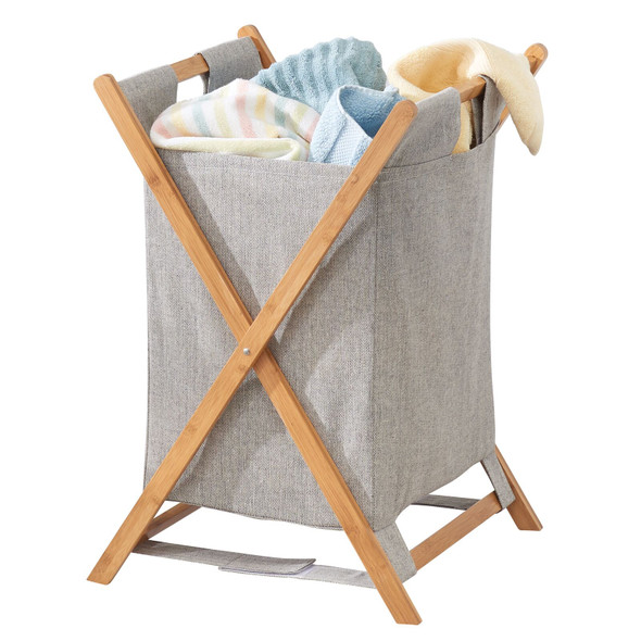 Large Collapsible Bamboo / Fabric Laundry Hamper Basket Bag
