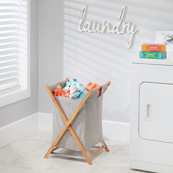 Collapsible Bamboo / Fabric Laundry Hamper Basket Bag