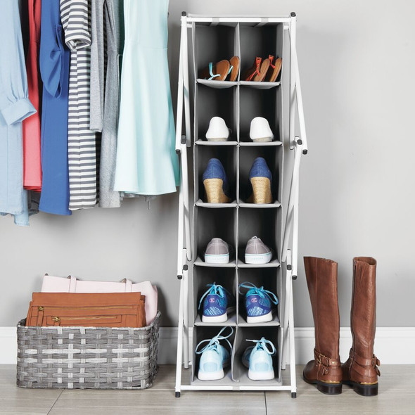Multi-Tier Fabric Shoe Rack Floor Stand Storage