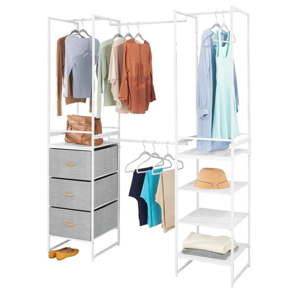 Tall Fabric Dresser Storage Wardrobe Organizer Unit