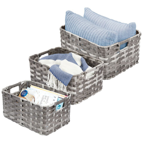 Rectangular Woven Braided Home Storage Basket Bin - Gray