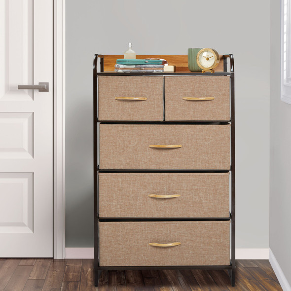 Tall Dresser 5 Drawer Storage Chest