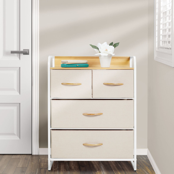 Wide Storage Table Organizer Unit Dresser Cabinet - 4 Drawers