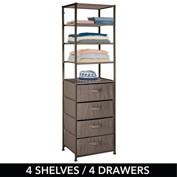 4 Drawer + 4 Shelf Vertical Fabric Dresser and Closet Storage Organizer