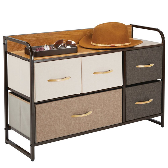 5 Drawer Wide Storage Dresser Organizer with Wood Shelf