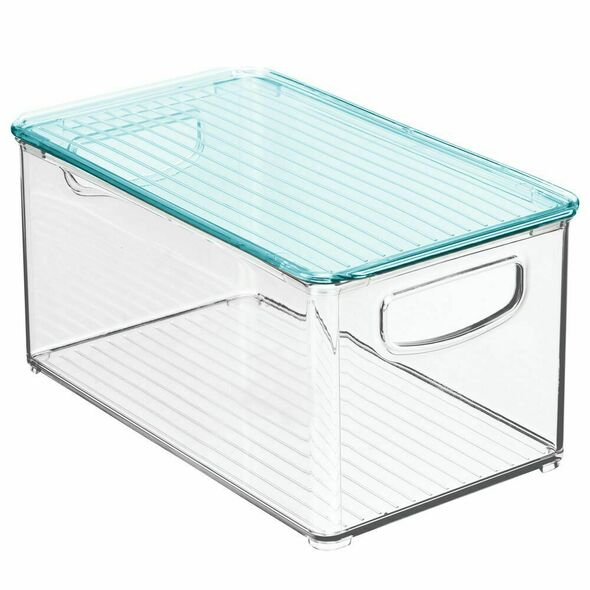 "Plastic Kids Supplies Storage Bin with Lid - 10"" x 6"" x 5"""
