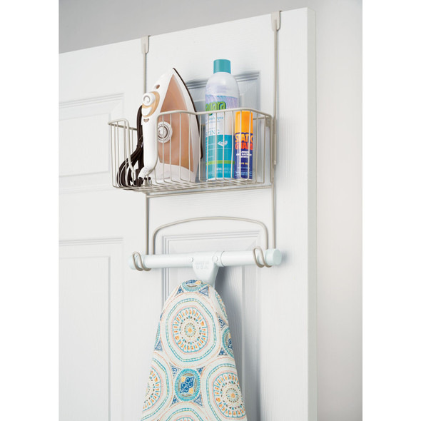 Iron, Ironing Board Holder Storage Basket - Over Door