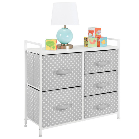 Kids Wide Dresser Cabinet Storage Organizer Unit - 5 Drawer