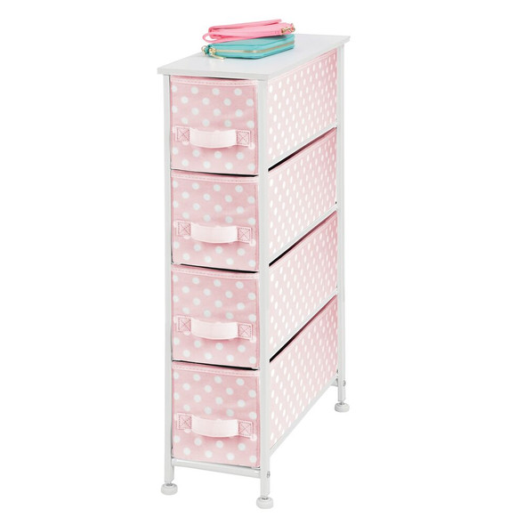 4 Drawer Narrow Dresser Cabinet for Baby + Kids Storage