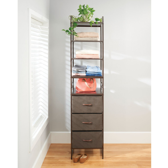 Tall Vertical Fabric Dresser Storage Organizer with 3 Drawers and Shelves