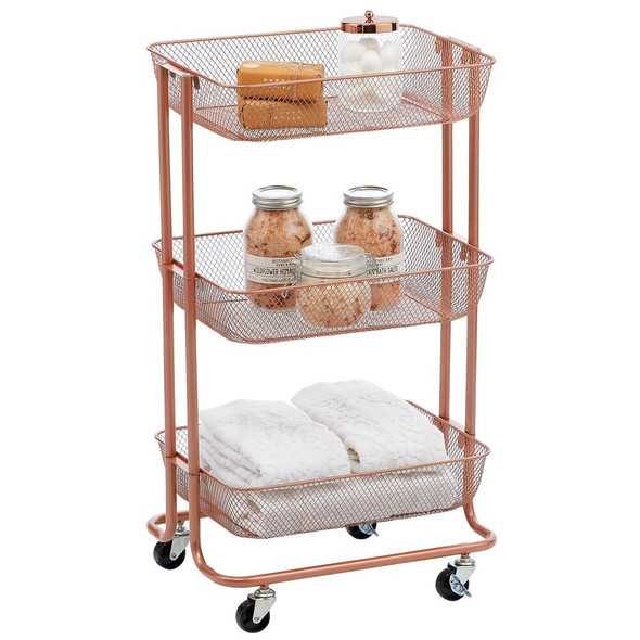 Metal 3-Tier Rolling Household Storage Cart with 4 Caster Wheels