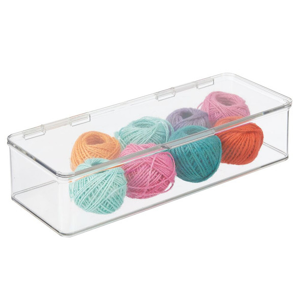 "Wide Plastic Craft Supplies Storage Bin Box with Lid - 5.5"" x 13.3"" x 3"""