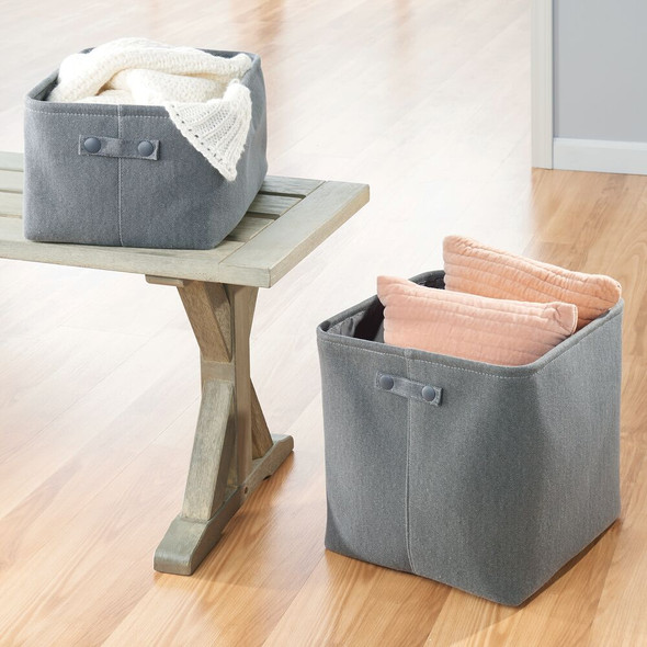 Fabric Bathroom Storage Bin, Coated Interior