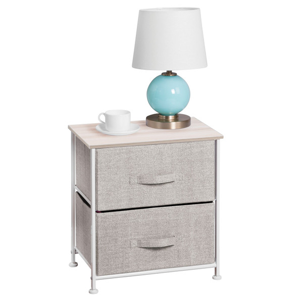 End Table Night Stand Storage Organizer - Fabric Drawers